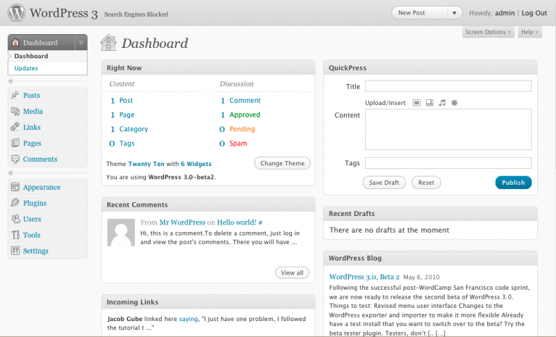 Dashboard WordPress 3.0 beta